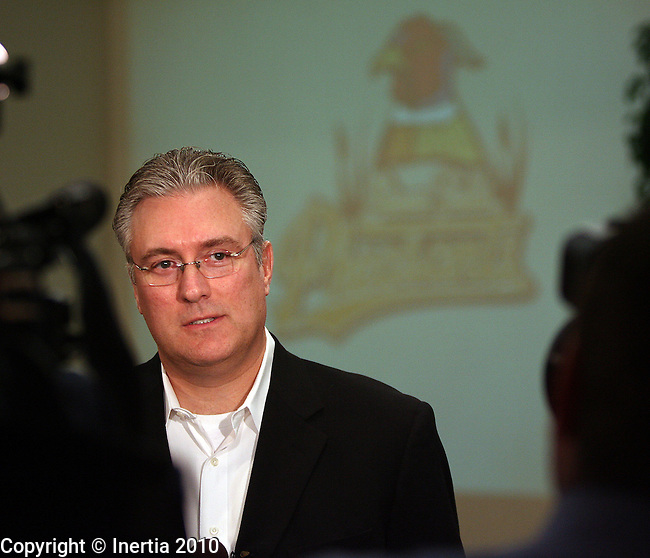 SIOUX FALLS, SD - FEBRUARY 17:  Gary Weckwerth, owner of Sioux Falls Sports, LLC, talks to the media during a press conference Wednesday afternoon at the Sioux Falls Convention Center announcing the changes to the Sioux Falls Canaries to the Sioux Falls Fighting Pheasants. (Photo by Dave Eggen/Inertia)