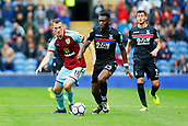 10th September 2017, Turf Moor, Burnley, England; EPL Premier League football, Burnley versus Crystal Palace; Timothy Fosu-Mensah of Crystal Palace turns away from Chris Wood of Burnley with the ball
