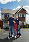Cardiff Blues, Wales and British and Irish Lions player Alex Cuthbert and Cardiff Blues Rhys Williams with Nathan Hammond <br /> <br /> Redrow Homes Official opening of  at Belle View at Mon Bank Newport with Cardiff Blues Players Alex Cuthbert and Rhys Williams - Newport <br /> <br /> &copy; www.sportingwales.com- PLEASE CREDIT IAN COOK
