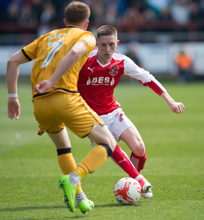 Fleetwood Town's Ashley Hunter is faced up by Port Vale's Sam Kelly<br /> <br /> Photographer Terry Donnelly/CameraSport<br /> <br /> The EFL Sky Bet League One - Fleetwood Town v Port Vale - Sunday 30th April 2017 - Highbury Stadium - Fleetwood<br /> <br /> World Copyright &copy; 2017 CameraSport. All rights reserved. 43 Linden Ave. Countesthorpe. Leicester. England. LE8 5PG - Tel: +44 (0) 116 277 4147 - admin@camerasport.com - www.camerasport.com