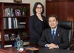 DePaul President A. Gabriel Esteban, Ph.D., is seen with his wife, Josephine, in a portrait in his Loop campus office, Monday, Oct. 9, 2017. (DePaul University/Jeff Carrion)