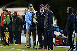 13 November 2015: UNC head coach Anson Dorrance (left) with assistant coaches Bill Palladino (center) and Damon Nahas (right). The University of North Carolina Tar Heels hosted the Liberty University Flames at Fetzer Field in Chapel Hill, NC in a 2015 NCAA Division I Women's Soccer game. UNC won the game 3-0.