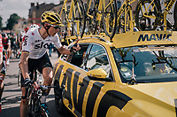 Christian Knees (DEU/SKY) having an issue with the Mavic neutral support car after the finish<br /> <br /> 104th Tour de France 2017<br /> Stage 3 - Verviers › Longwy (202km)