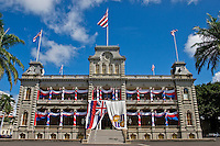 `Iolani Palace in Honolulu, Hawaii, the only royal palace in the United States, decorated with bunting and Hawaiian flags in honor of the anniversary of King Kalakaua's birthday.