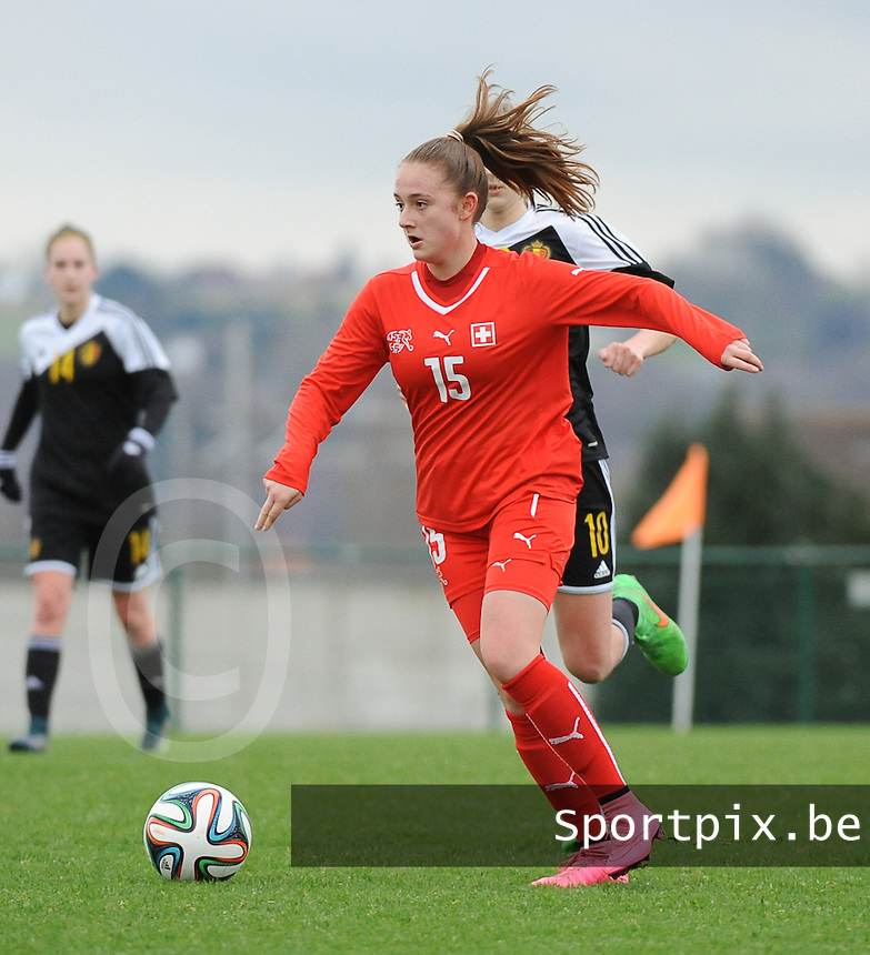 20160211 - TUBIZE , BELGIUM :  Switzerland's Chantal Ruf pictured during the friendly female soccer match between Women under 17 teams of  Belgium and Switzerland , in Tubize , Belgium . Thursday 11th February 2016 . PHOTO SPORTPIX.BE DIRK VUYLSTEKE