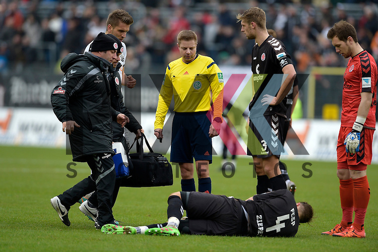 GER - Sandhausen, Germany, March 19: During the 2. Bundesliga soccer match between SV Sandhausen (white) and FC ST. Pauli (grey) on March 19, 2016 at Hardtwaldstadion in Sandhausen, Germany.  Philipp Ziereis #4 of FC St. Pauli receives medical attention beim Spiel in der 2. Bundesliga des SV Sandhausen - FC St. Pauli.<br /> <br /> Foto &copy; PIX-Sportfotos *** Foto ist honorarpflichtig! *** Auf Anfrage in hoeherer Qualitaet/Aufloesung. Belegexemplar erbeten. Veroeffentlichung ausschliesslich fuer journalistisch-publizistische Zwecke. For editorial use only.
