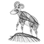 X-ray image of a sheep (black on white) by Jim Wehtje, specialist in x-ray art and design images.