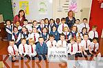 Pictured on their first day of school at Balloonagh primary, Tralee on Thursday were Mrs. Nora O Sullivans Class and Mrs. Kate Norris (S.N.A.). Front Row: Darragh O' Shea, Paddy Mc Elligott, Sean Barry, Ryan Walsh, Johnny Dawson, Ronan Hayes, Matthew Leahy, Luke O' Mahony, Jamie Cleary Lynch, Jason Tabios..Middle Row: Alyshia Coffey, Danielle Cronin, Aisling Browne, Abigail Barret O' Callaghen, Aoife Begley, Maja Amborska, Kornelia Wycisekiewicz, Grace O Connor, Michael O' Keeffe.Back Row left to right: Cyrena Ong, Paula njesse, M.J. Mc Carthy, Sophie Canty, Abbie Canty, Yuya Weng, Rita Feely, Samuel Akinyemi, Aidan Kongjoni, Luke O Brien, William Faulkner...