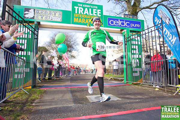 0139 Eamonn Dargan pictured at the finish line of  the Kerry's Eye, Tralee International Marathon on Saturday March 16th 2013.