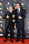Javier Olivares (L) win the award at Feroz Awards 2017 in Madrid, Spain. January 23, 2017. (ALTERPHOTOS/BorjaB.Hojas)