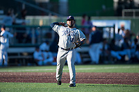 Tri-City Dust Devils third baseman Jose Lezama (18) throws to first base during a Northwest League game against the Everett AquaSox at Everett Memorial Stadium on September 3, 2018 in Everett, Washington. The Everett AquaSox defeated the Tri-City Dust Devils by a score of 8-3. (Zachary Lucy/Four Seam Images)