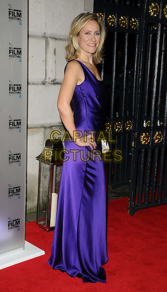 Sophie Raworth<br /> attended the BFI London Film Festival Awards 2013, 57th BFI London Film Festival day 11, Banqueting House, Whitehall, London, England, UK, 19th October 2013.<br /> full length blue purple silk satin dress hand on hip one shoulder strap side <br /> CAP/CAN<br /> &copy;Can Nguyen/Capital Pictures