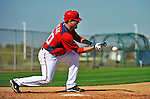 19 February 2011: Washington Nationals' pitcher Josh Wilkie works on bunting drills at the Carl Barger Baseball Complex in Viera, Florida. Mandatory Credit: Ed Wolfstein Photo