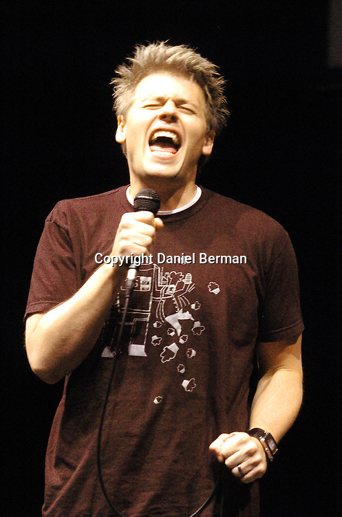 Comedian Christian Finnegan performs at the Bumbershoot music festival in Seattle, WA September 4, 2006.