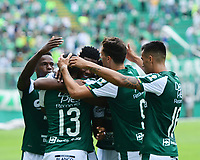 PALMIRA - COLOMBIA, 01-09-2019: Danny Rosero Valencia del Cali celebra con sus compañeros después de anotar el segundo gol de su equipo durante partido entre Deportivo Cali y Deportivo Pasto por la fecha 9 de la Liga Águila II 2019 jugado en el estadio Deportivo Cali de la ciudad de Palmira. / Danny Rosero Valencia of Cali celebrates with his teammates after scoring the second goal of his team during match between Deportivo Cali and Deportivo Pasto for the date 9 as part Aguila League II 2019 played at Deportivo Cali stadium in Palmira city. Photo: VizzorImage / Nelson Rios / Cont