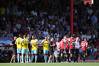 A drinks break for Brentford and Rotherham players during Brentford vs Rotherham United, Sky Bet EFL Championship Football at Griffin Park on 4th August 2018