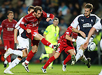 Mark Kerr almost scores for Aberdeen but his shot is palmed away by Robert Olejnik