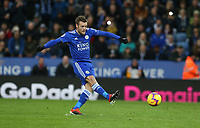 Leicester City's Jamie Vardy scores the opening goal from the penalty spot <br /> <br /> Photographer Stephen White/CameraSport<br /> <br /> The Premier League - Leicester City v Watford - Saturday 1st December 2018 - King Power Stadium - Leicester<br /> <br /> World Copyright © 2018 CameraSport. All rights reserved. 43 Linden Ave. Countesthorpe. Leicester. England. LE8 5PG - Tel: +44 (0) 116 277 4147 - admin@camerasport.com - www.camerasport.com
