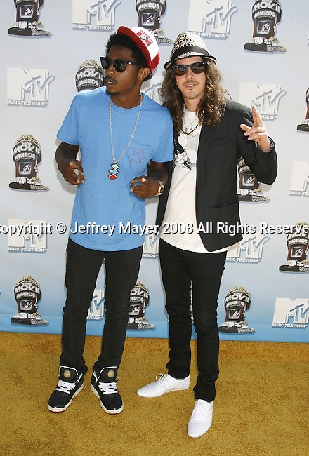 Musicians Shwayze and Cisco Adler arrive to the 2008 MTV Movie Awards on June 1, 2008 at the Gibson Amphitheatre in Universal City, California.