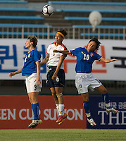 USWNT forward (6) Natasha Kai goes up for a header against Italy's (3) Roberta D'Adda and (10) Tatiana Zorri during the last group stage game at the Peace Queen Cup.  The USWNT defeated Italy, 2-0, at the Suwon Sports Center in Suwon, South Korea.