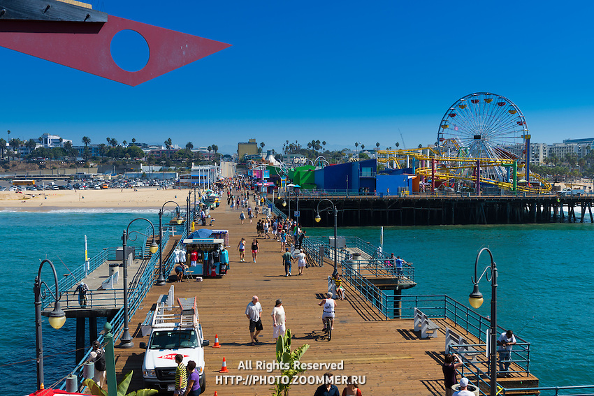 Santa Monica pier boardwalk and luna-park, LA, California