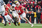 Wisconsin Badgers defensive lineman Conor Sheehy (94) pressures the quarterback during an NCAA College Big Ten Conference football game against the Michigan Wolverines Saturday, November 18, 2017, in Madison, Wis. The Badgers won 24-10. (Photo by David Stluka)