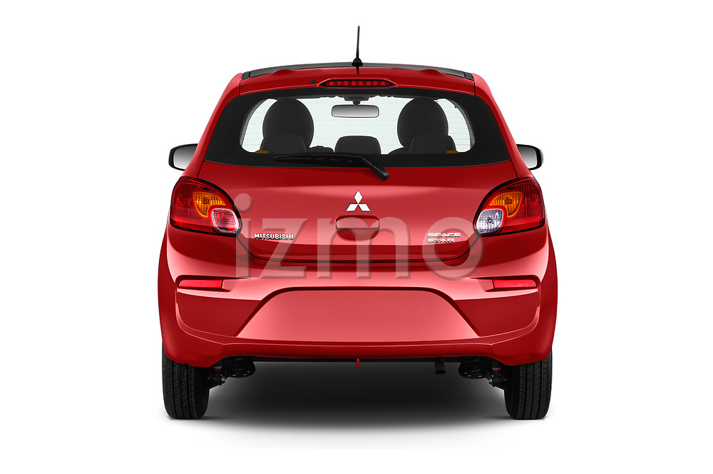 Straight rear view of a 2019 Mitsubishi Space Star Black Collection 5 Door Hatchback stock images