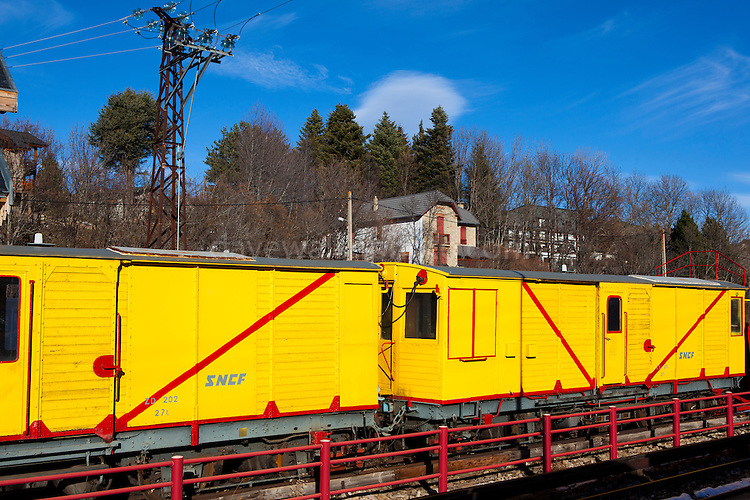 The Train Jaune, Yellow Train, Canari, or Ligne de Cerdagne, at Gare de Mont-Louis - La Cabanasse  on the 63km long railway from Villefranche-de-Conflent to Latour-de-Carol, rising from 427m to 1,593m at Bolquère-Eyne, the highest railway station in France. In early 2015 the future of the line was uncertain, with SNCF and the French government considering either to close the line, or to privatise it for tourism use.