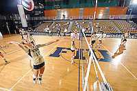 11 September 2011:  FIU's team (Marija Prsa (10)) runs through drills prior to the match.  The FIU Golden Panthers defeated the Florida A&M University Rattlers, 3-0 (25-10, 25-23, 26-24), at U.S Century Bank Arena in Miami, Florida.