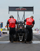 Apr 22, 2017; Baytown, TX, USA; Crew members for NHRA top fuel driver Leah Pritchett during qualifying for the Springnationals at Royal Purple Raceway. Mandatory Credit: Mark J. Rebilas-USA TODAY Sports