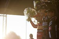 Elite Men's podium:<br /> 1/ Wout Van Aert (BEL/Vastgoedservice-Golden Palace)<br /> 2/ Kevin Pauwels (BEL/Sunweb-Napoleon Games)<br /> 3/ Lars Van der Haar (NLD/Giant-Alpecin)<br /> <br /> Koppenbergcross 2015