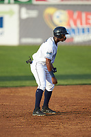 Seuly Matias (25) of the Wilmington Blue Rocks takes his lead off of second base against the Fayetteville Woodpeckers at Frawley Stadium on June 6, 2019 in Wilmington, Delaware. The Woodpeckers defeated the Blue Rocks 8-1. (Brian Westerholt/Four Seam Images)