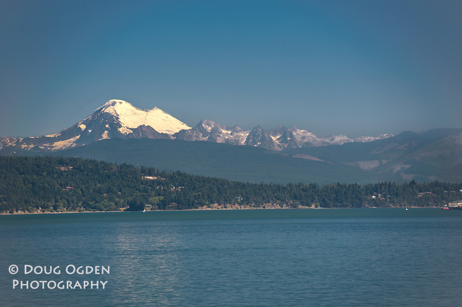A view of Mount Baker and neighboring peaks from North Puget Sound