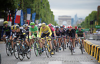 Chris Froome (GBR/SKY) aside Peter Sagan (SVK/Tinkoff-Saxo) corners out of the Champs Elysées and on for another local lap around Paris<br /> <br /> stage 21: Sèvres - Champs Elysées (109km)<br /> 2015 Tour de France
