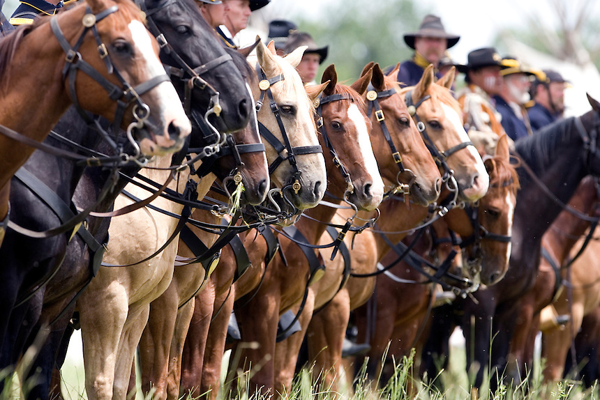 Photo by Stephen Brashear.Reenactment of Battle of the Little Bighorn at Medicine Tail Coulee on the Real Bird Ranch near Crow Agency, Mont., Sat. June 23, 2007