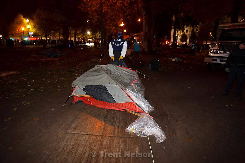 Trent Nelson  |  The Salt Lake Tribune.Salt Lake City police cleared the Occupy Salt Lake tent city from Pioneer Park in Salt Lake City, Utah, Saturday, November 12, 2011.