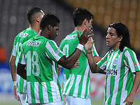 MEDELLIN - COLOMBIA -06-02-2014: Wilder Guisao (Izq.) jugador de Atletico Nacional celebra el gol anotado durante partido de la tercera fecha de la Liga Postobon I 2014, jugado en el estadio Atanasio Girardot de la ciudad de Medellin. / Wilder Guisao (L) player of Atletico Nacional celebrates a goal scored  during a match for the third date of the Liga Postobon I 2014 at the Atanasio Girardot Stadium in Medellin city. Photo: VizzorImage  / Luis Rios / Str.