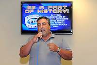 12 August 2011:  One of the Four Horsemen, FIU alumnus Eddie Hondal, addresses fans during the FIU 2011 Panther Preview at University Park Stadium in Miami, Florida.
