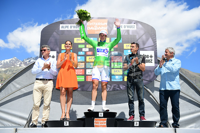 Arnaud Demare (FRA) FDJ retains the points green jersey on the podium at the end of Stage 7 of the Criterium du Dauphine 2017, running 168km from Aoste to Alpe d'Huez, France. 10th June 2017. <br /> Picture: ASO/A.Broadway | Cyclefile<br /> <br /> <br /> All photos usage must carry mandatory copyright credit (&copy; Cyclefile | ASO/A.Broadway)
