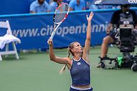 Washington, DC - August 4, 2019:  Camila Giorgi (ITA) serves during the Citi Open WTA Singles final at William H.G. FitzGerald Tennis Center in Washington, DC  August 4, 2019.  (Photo by Elliott Brown/Media Images International)