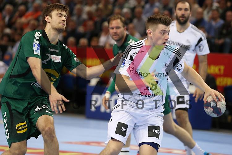 Kiel, 20.05.15, Sport, Handball, DKB Handball Bundesliga, Saison 2014/2015, THW Kiel - GWD Minden : Florian Freitag (GWD Minden, #02), Niclas Ekberg (THW Kiel, #18)<br /> <br /> Foto &copy; P-I-X.org *** Foto ist honorarpflichtig! *** Auf Anfrage in hoeherer Qualitaet/Aufloesung. Belegexemplar erbeten. Veroeffentlichung ausschliesslich fuer journalistisch-publizistische Zwecke. For editorial use only.