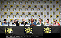 SAN DIEGO COMIC-CON© 2019:  L-R: 20th Century Fox Television's AMERICAN DAD Writer/Cast Member Jeff Kauffmann, Executive Producer Kara Vallow, Producer Matt Weitzman Cast Members Kevin Michael Richardson, Dee Bradley Baker, Scott Grimes and Rachael MacFarlane during the AMERICAN DAD panel on Saturday, July 20 at the SAN DIEGO COMIC-CON© 2019. CR: Frank Micelotta/20th Century Fox Television