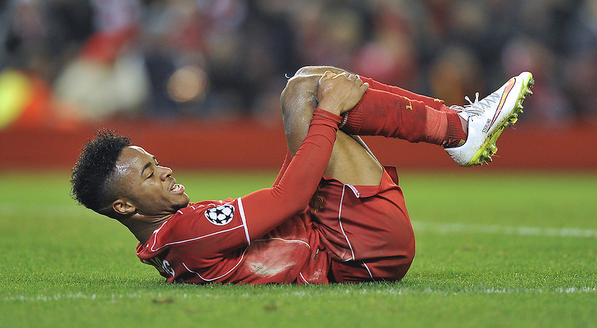 Liverpool's Raheem Sterling<br /> <br /> Photographer Dave Howarth/CameraSport<br /> <br /> Football - UEFA Champions League Group B - Liverpool v Basel - Tuesday 9th December 2014 - Anfield - Liverpool<br /> <br /> &copy; CameraSport - 43 Linden Ave. Countesthorpe. Leicester. England. LE8 5PG - Tel: +44 (0) 116 277 4147 - admin@camerasport.com - www.camerasport.com