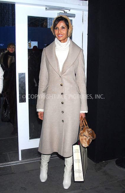 WWW.ACEPIXS.COM . . . . . ....February 6, 2007, New York City. ....Padma Lakshmi seen at Bryant Park during the Mercedes-Benz Fashion Week Fall 2007. ....Please byline: KRISTIN CALLAHAN - ACEPIXS.COM.. . . . . . ..Ace Pictures, Inc:  ..(212) 243-8787 or (646) 769 0430..e-mail: info@acepixs.com..web: http://www.acepixs.com