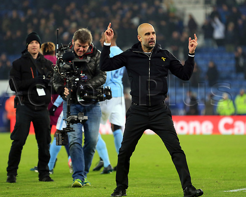 19th December 2017, King Power Stadium, Leicester, England; Carabao Cup quarter-final, Leicester City versus Manchester City; Pep Guardiola manager of Manchester City dances as the fans sing out his name