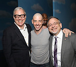 Scott Wittman, Christian Borle, Alan H. Green, photo bombing, and Marc Shaiman during the Actors' Equity Gypsy Robe Ceremony honoring Katie Webber for  'Charlie and the Chocolate Factory' at the Lunt-Fontanne Theatre on April 23, 2017 in New York City.
