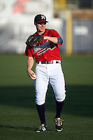 Mississippi Braves outfielder David Rohm (24) warms up before a game against the Pensacola Blue Wahoos on May 28, 2015 at Trustmark Park in Pearl, Mississippi.  Mississippi defeated Pensacola 4-2.  (Mike Janes/Four Seam Images)