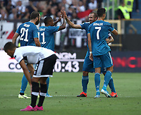 Calcio, Serie A: Parma - Juventus, Parma stadio Ennio Tardini, 24 agosto 2019. <br /> Juventus' captain Giorgio Chiellini (second from right) celebrates after scoring with his teammates during the Italian Serie A football match between Parma and Juventus at Parma's Ennio Tardini stadium, August 24, 2019. <br /> UPDATE IMAGES PRESS/Isabella Bonotto