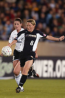 Linda Ormen of the New York Power attempts to get a shot off against Christine McCann of the Boston Breakers during their May 18th match up at Mitchel Athletic Complex. The Power lost 2-1.