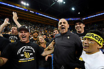 LOS ANGELES - MAY 5:  Long Beach State 49ers head coach Alan Knipe celebrates with fans after the 49ers win the Division 1 Men's Volleyball Championship against the UCLA Bruins on May 5, 2018 at Pauley Pavilion in Los Angeles, California. The Long Beach State 49ers defeated the UCLA Bruins 3-2. (Photo by John W. McDonough/NCAA Photos via Getty Images)